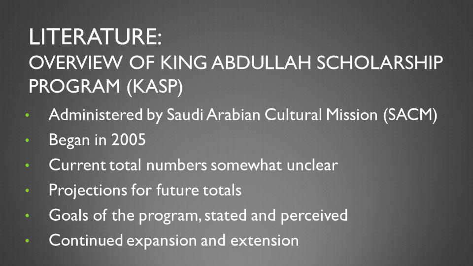 Literature: Overview of King Abdullah Scholarship Program (KASP)