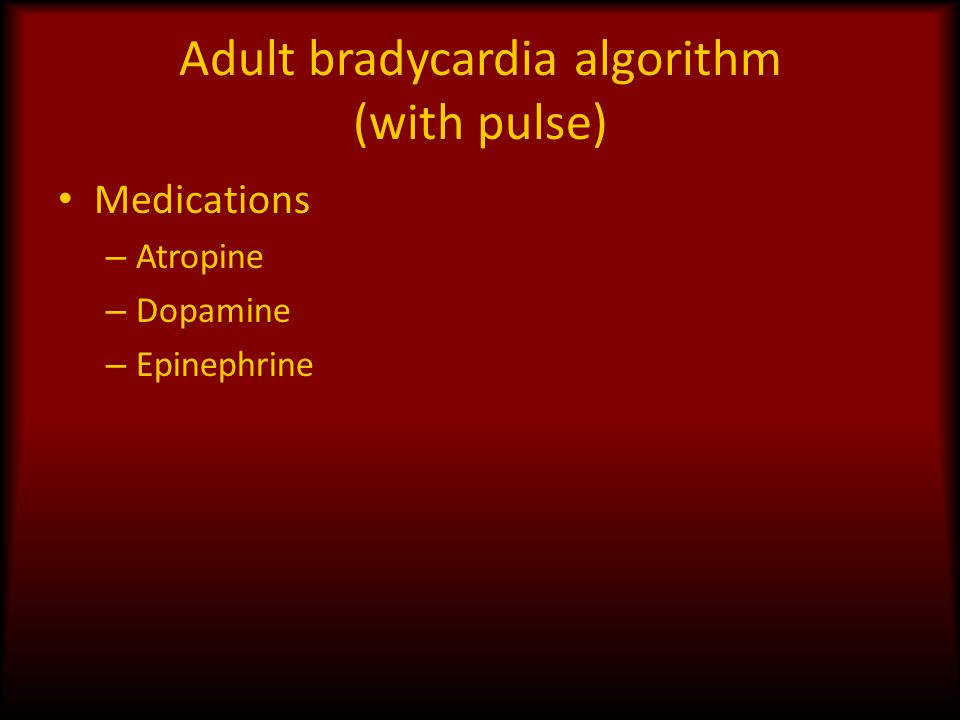 Adult bradycardia algorithm (with pulse)