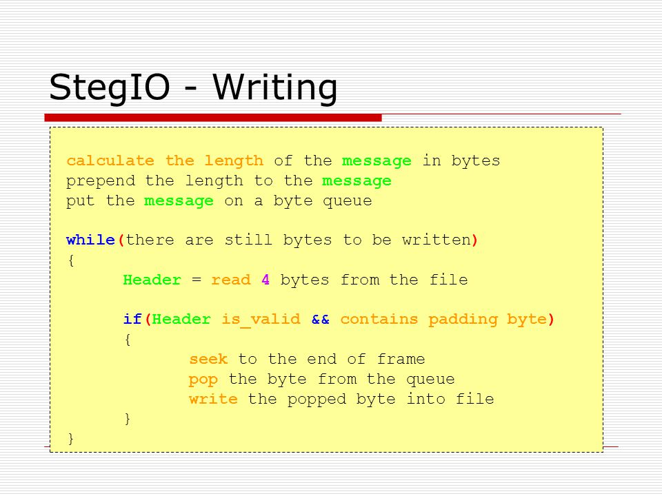 StegIO - Writing calculate the length of the message in bytes