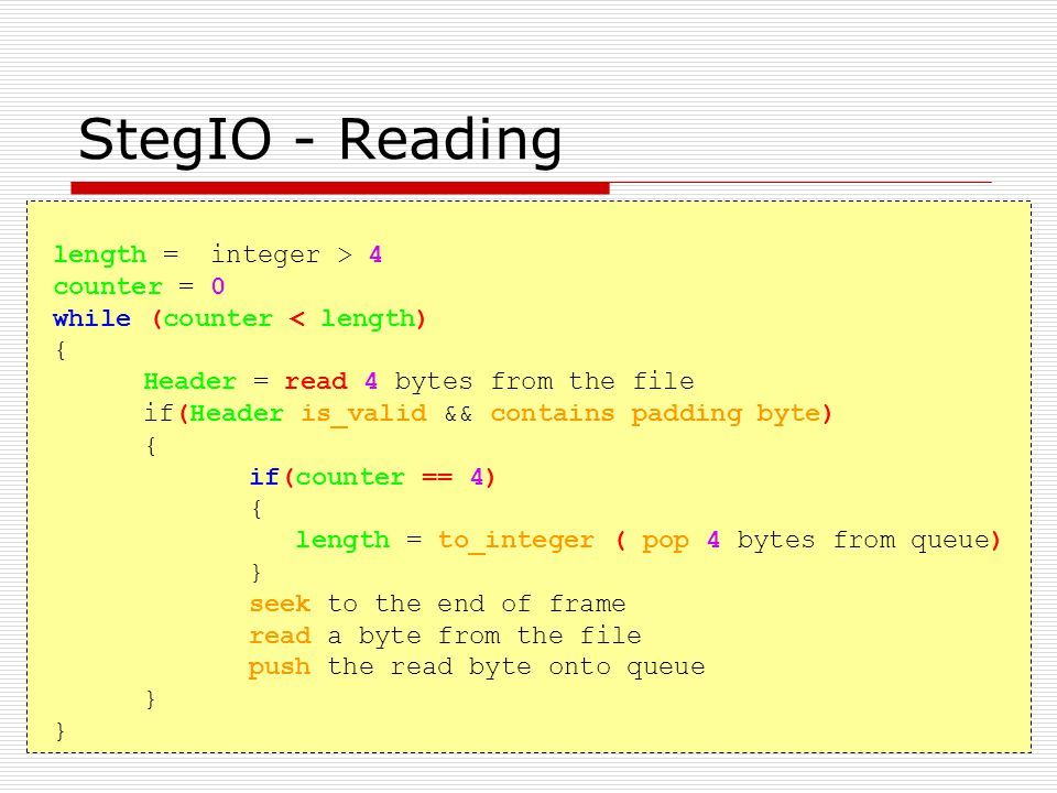 StegIO - Reading length = integer > 4 counter = 0