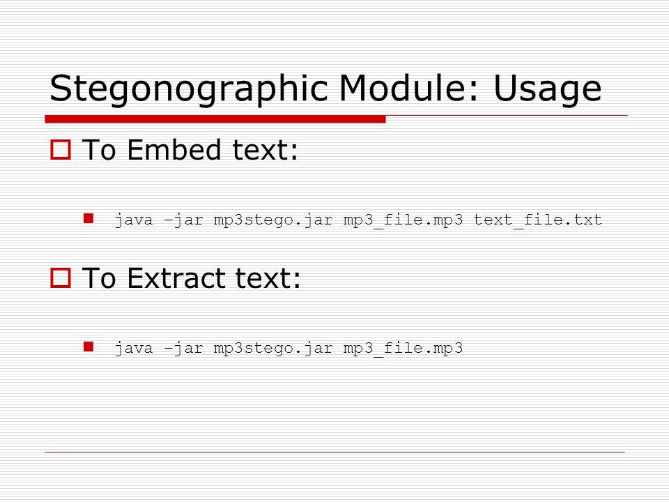 Stegonographic Module: Usage
