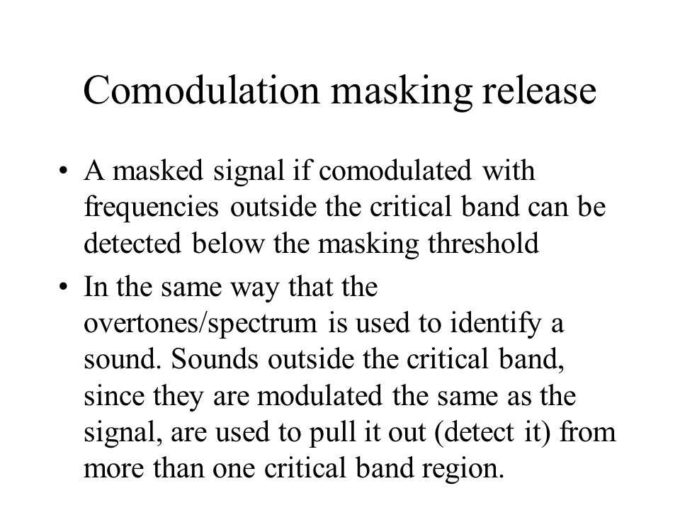 Comodulation masking release