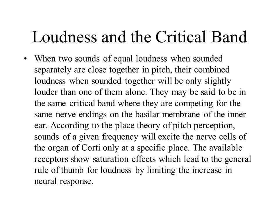 Loudness and the Critical Band