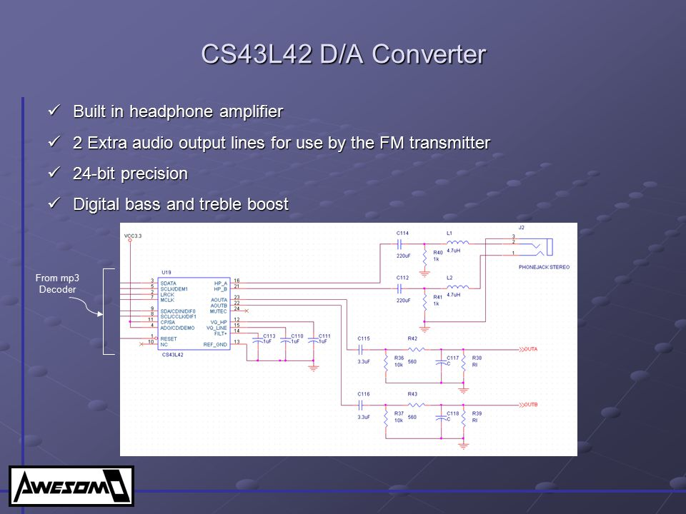 CS43L42 D/A Converter Built in headphone amplifier