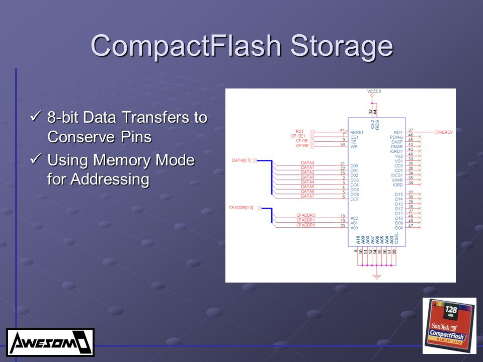 CompactFlash Storage 8-bit Data Transfers to Conserve Pins