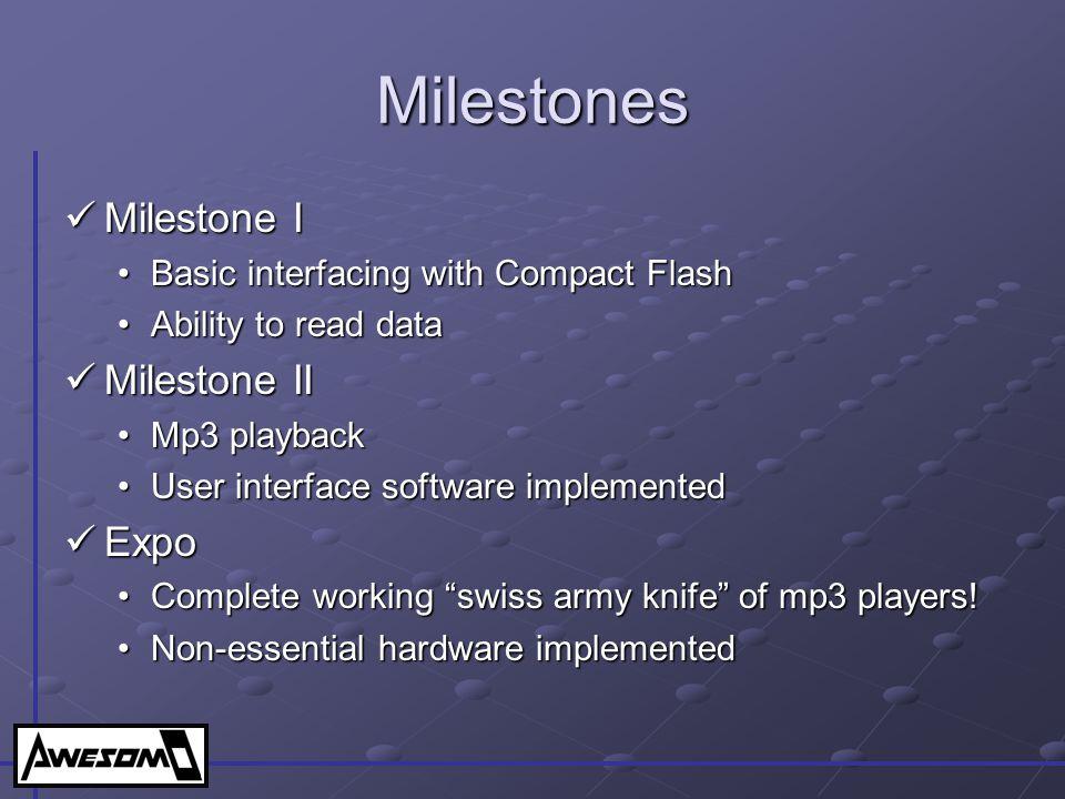 Milestones Milestone I Milestone II Expo