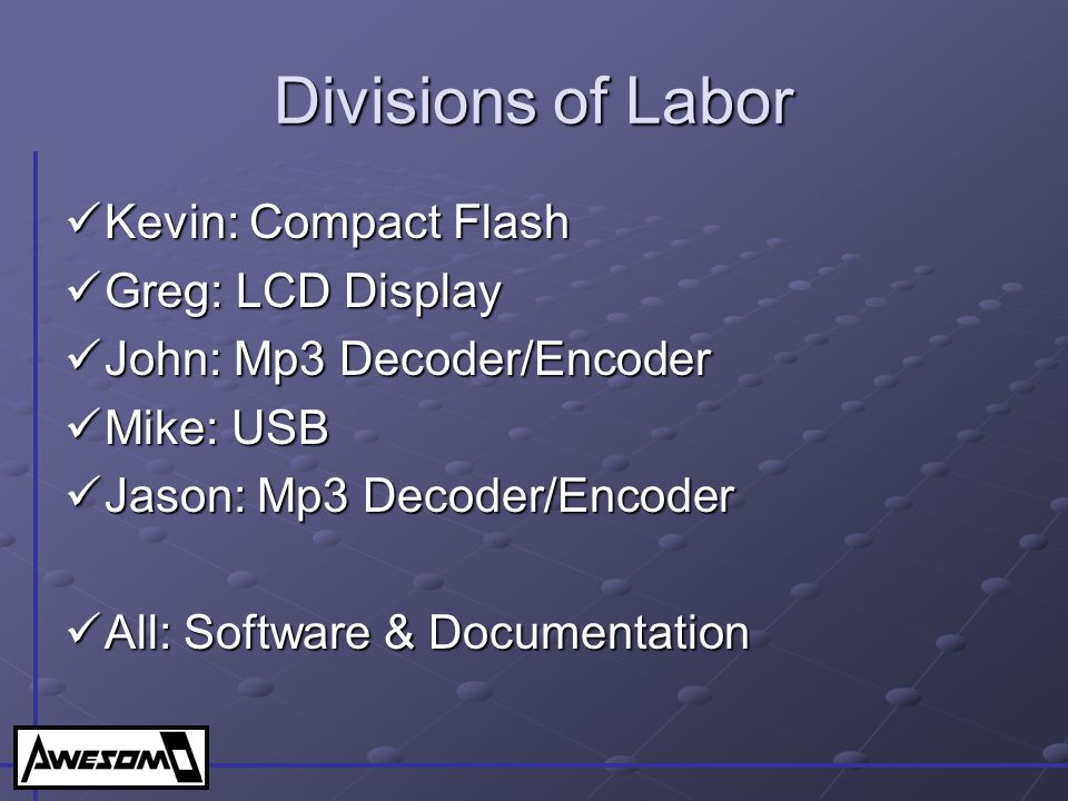 Divisions of Labor Kevin: Compact Flash Greg: LCD Display