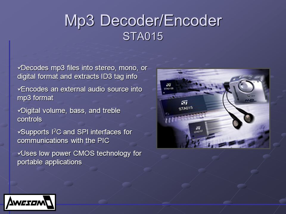 Mp3 Decoder/Encoder STA015
