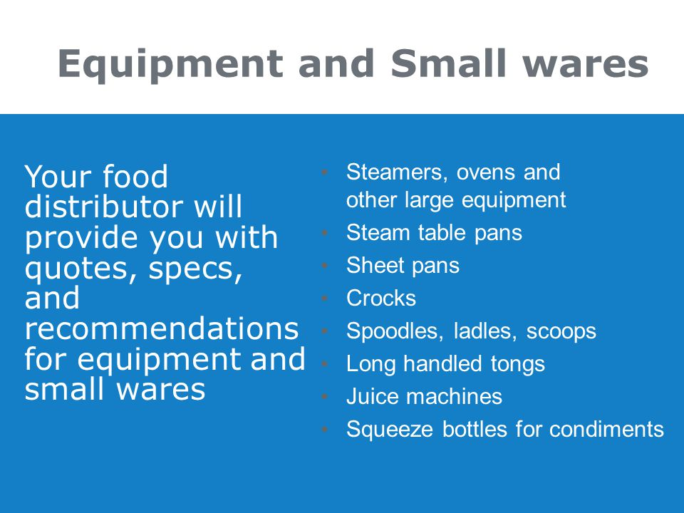 Equipment and Small wares