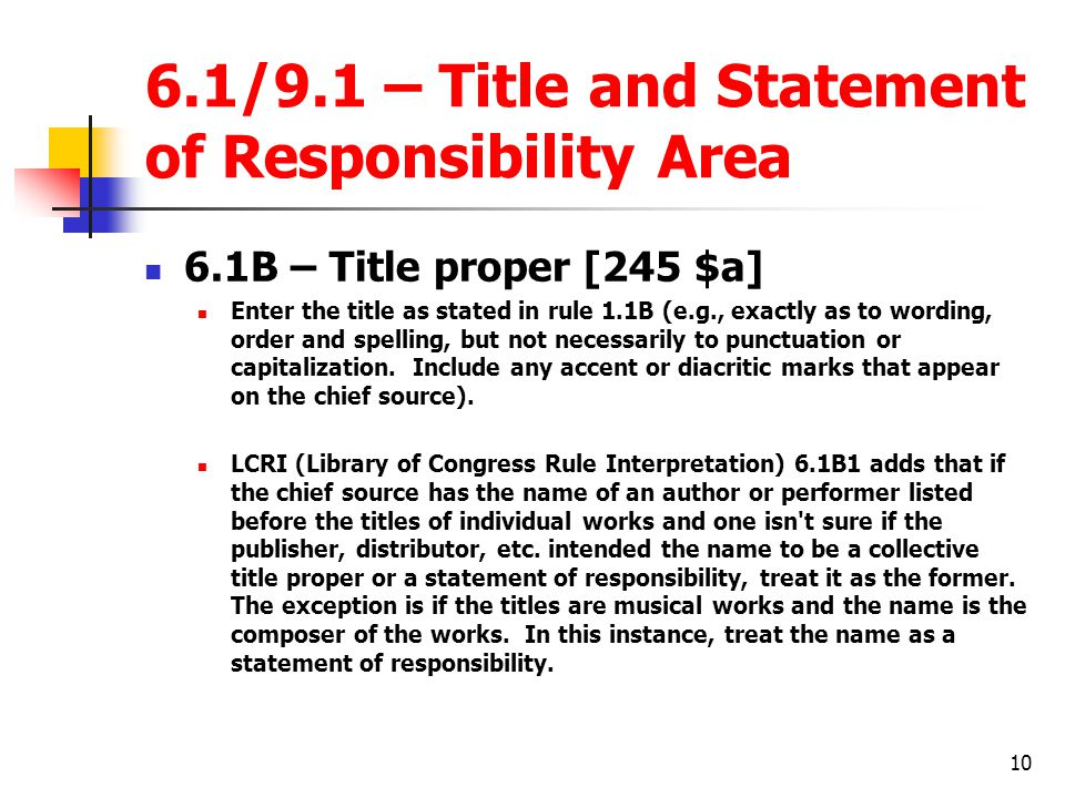6.1/9.1 – Title and Statement of Responsibility Area