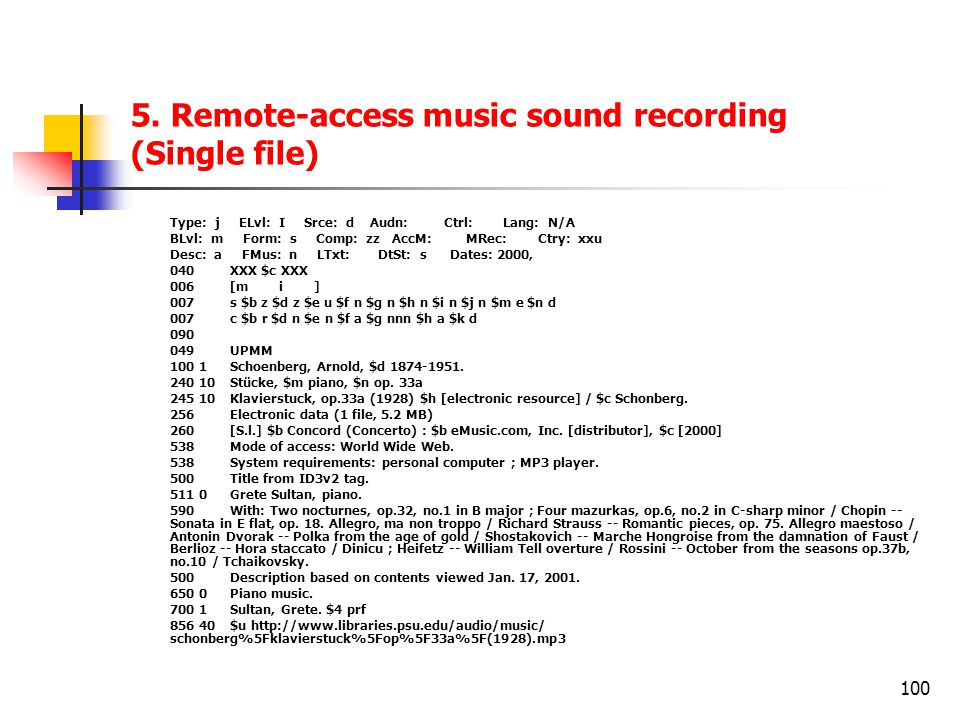 5. Remote-access music sound recording (Single file)