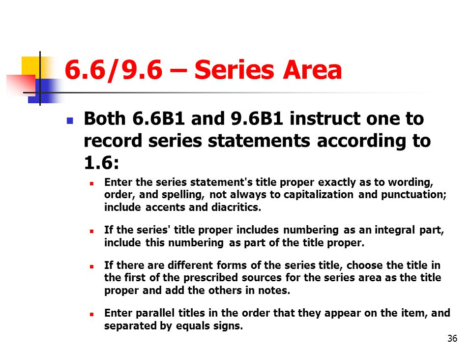 6.6/9.6 – Series Area Both 6.6B1 and 9.6B1 instruct one to record series statements according to 1.6: