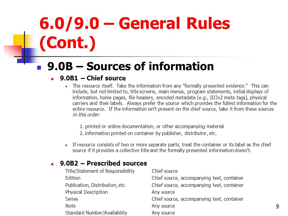6.0/9.0 – General Rules (Cont.)