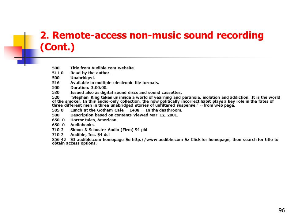 2. Remote-access non-music sound recording (Cont.)