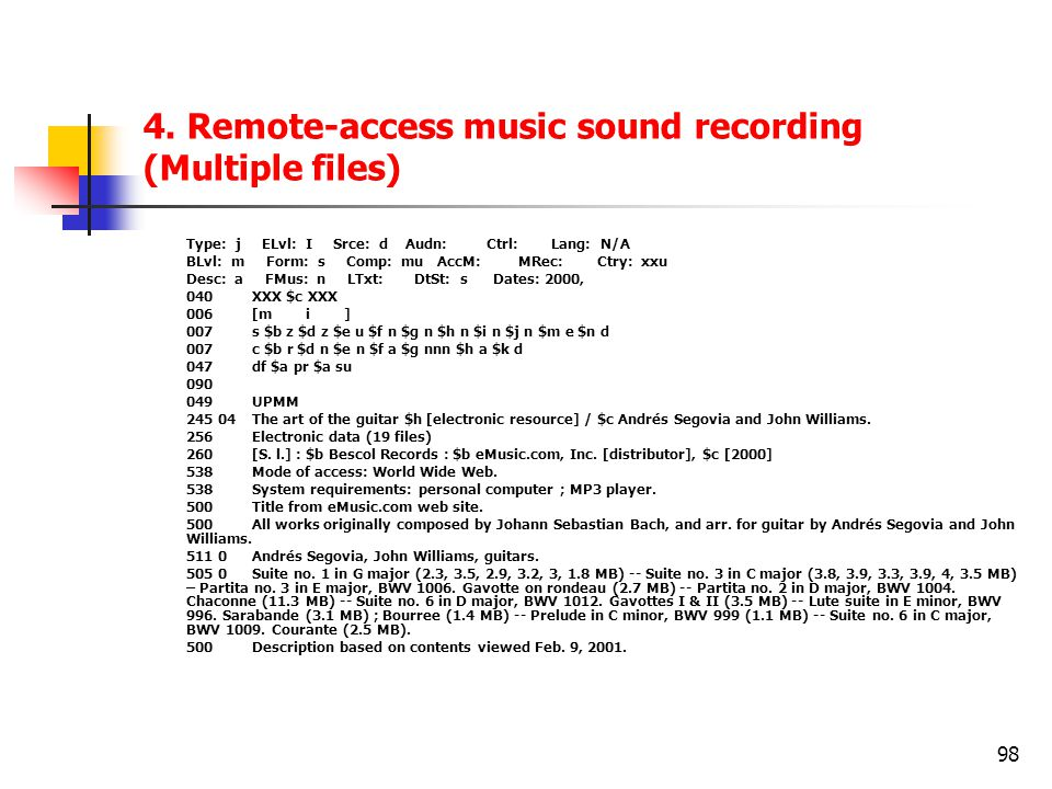 4. Remote-access music sound recording (Multiple files)
