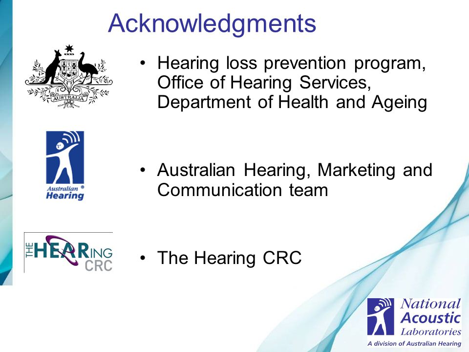 Acknowledgments Hearing loss prevention program, Office of Hearing Services, Department of Health and Ageing.