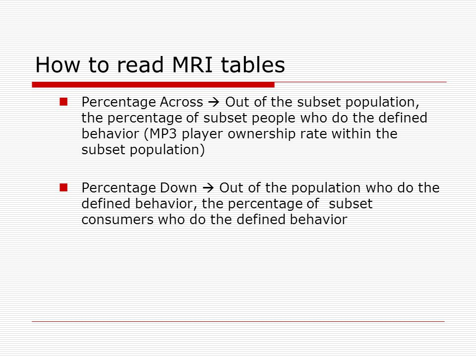 How to read MRI tables