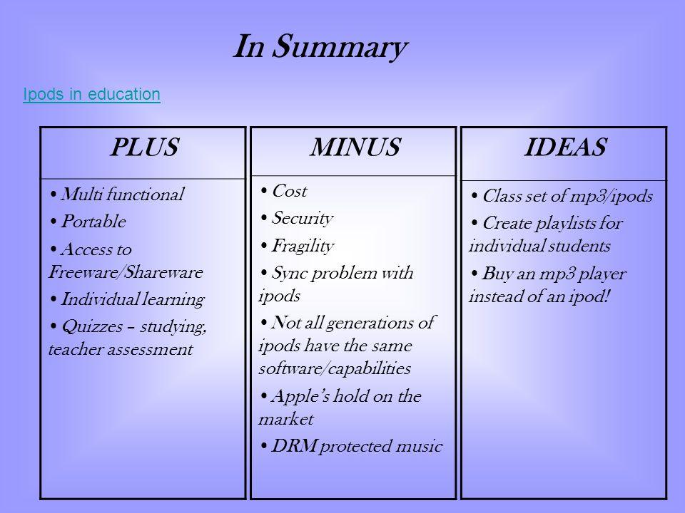 In Summary PLUS MINUS IDEAS Multi functional Portable