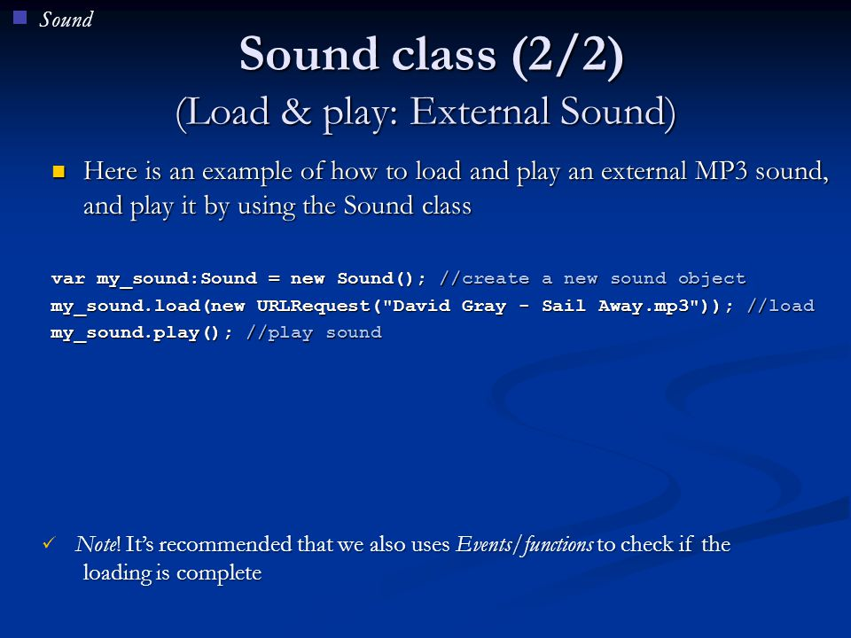 Sound class (2/2) (Load & play: External Sound)