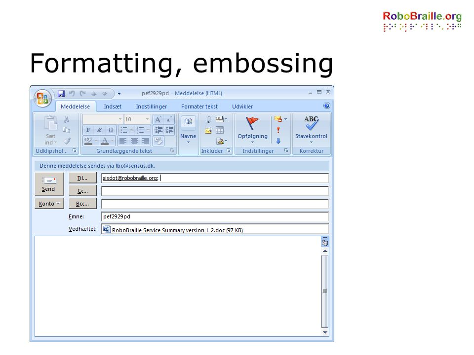 Formatting, embossing