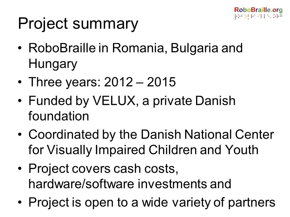 Project summary RoboBraille in Romania, Bulgaria and Hungary