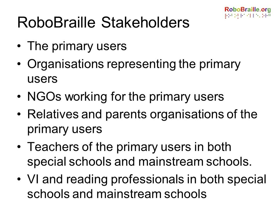 RoboBraille Stakeholders