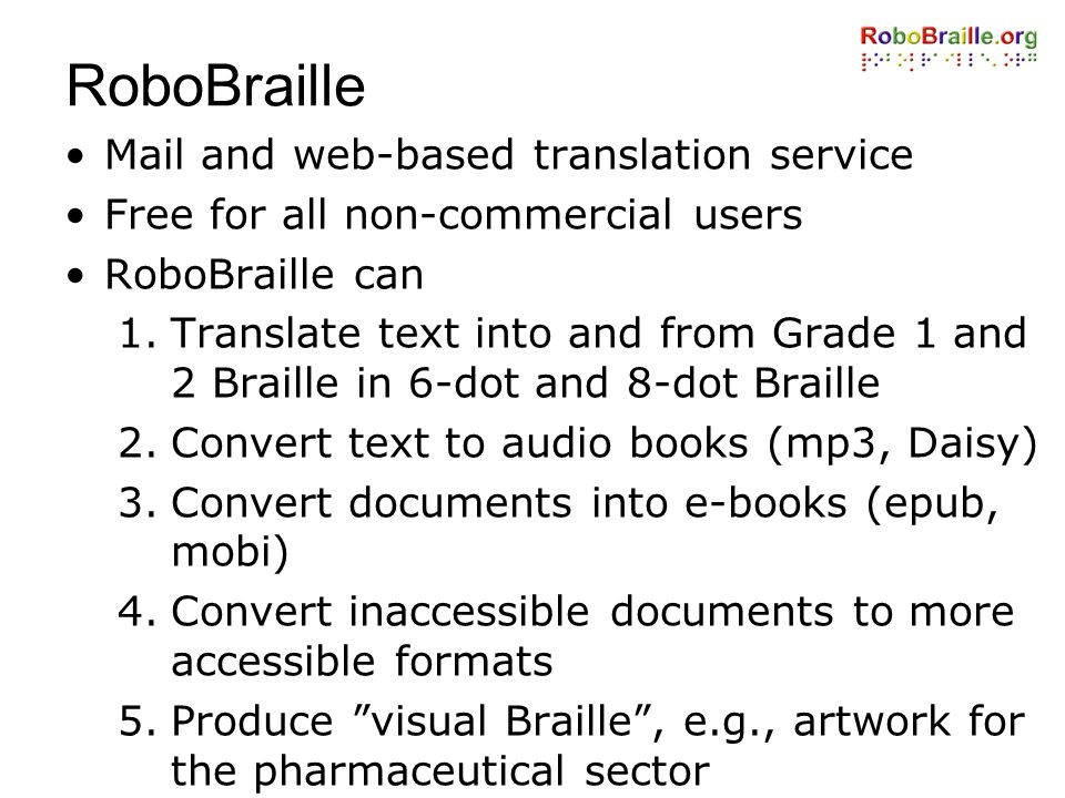 RoboBraille Mail and web-based translation service
