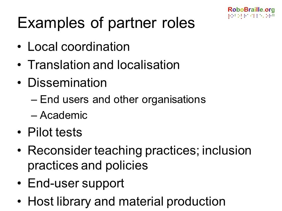 Examples of partner roles