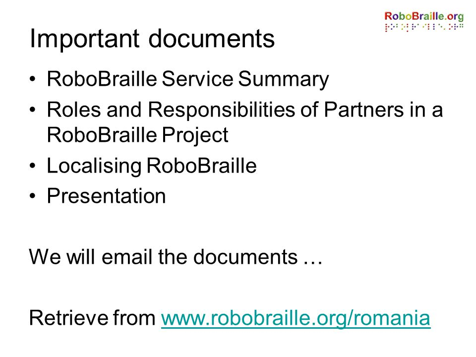 Important documents RoboBraille Service Summary