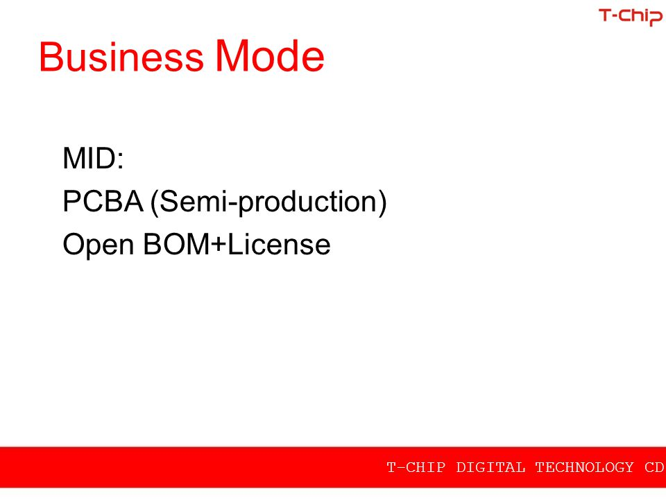 Business Mode MID: PCBA (Semi-production) Open BOM+License