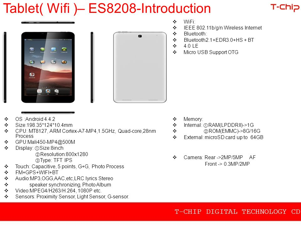 Tablet( Wifi )– ES8208-Introduction