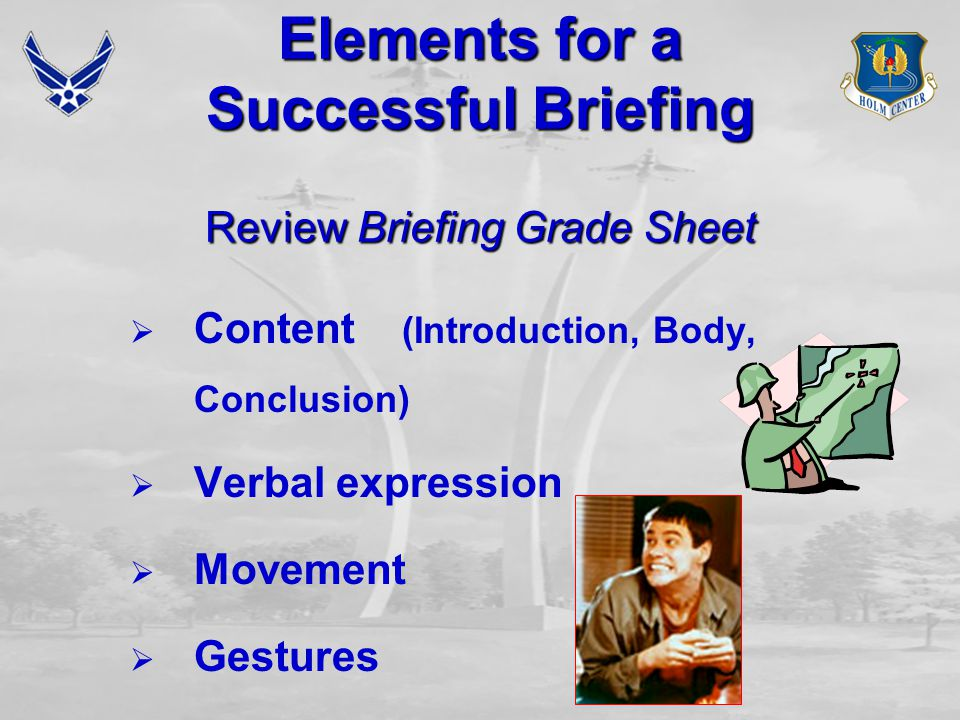 Elements for a Successful Briefing Review Briefing Grade Sheet