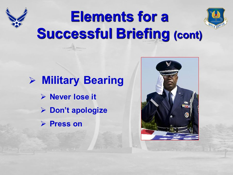Elements for a Successful Briefing (cont)