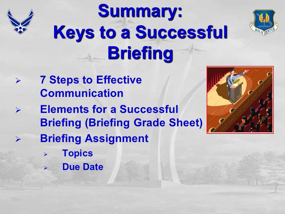 Summary: Keys to a Successful Briefing