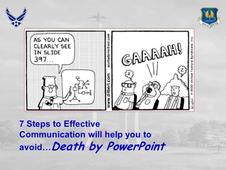 7 Steps to Effective Communication will help you to avoid…Death by PowerPoint