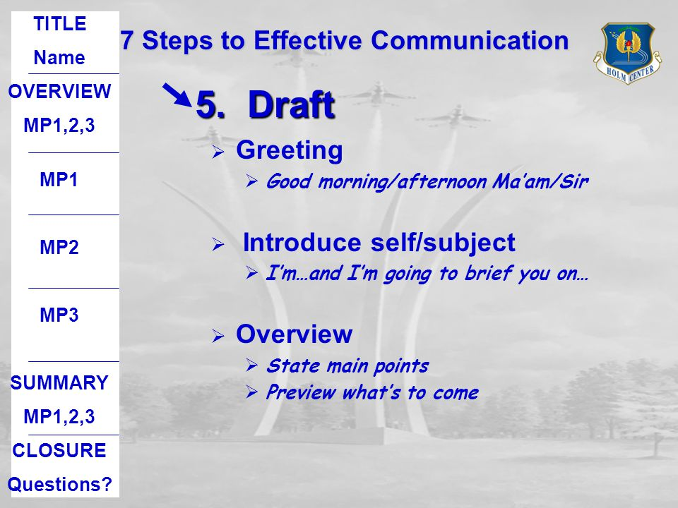 5. Draft 7 Steps to Effective Communication Greeting