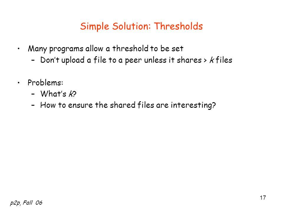 Simple Solution: Thresholds