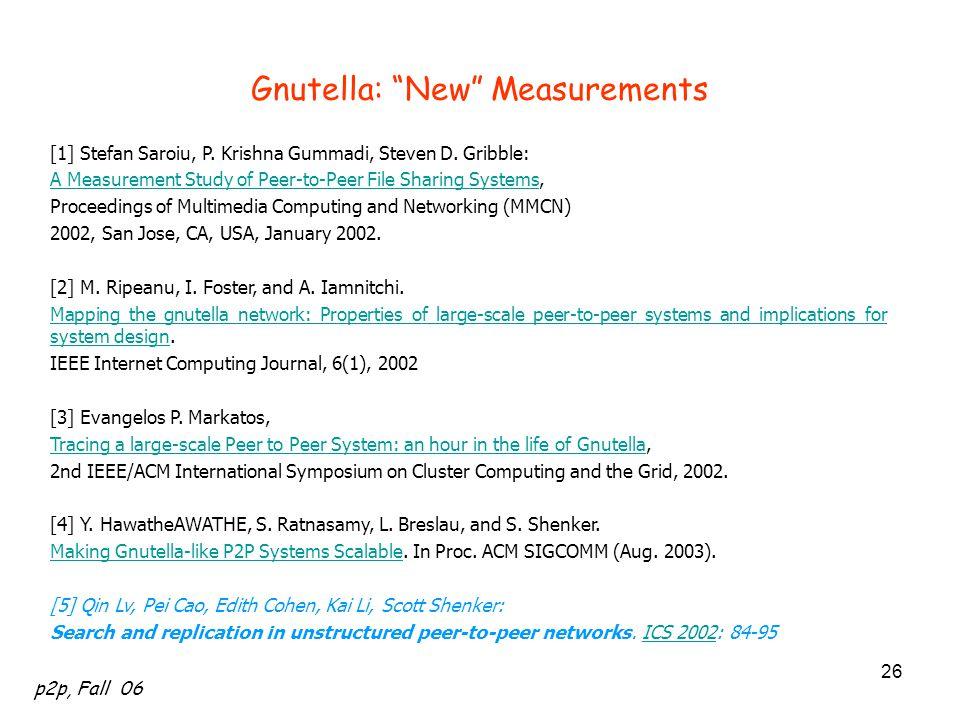 Gnutella: New Measurements