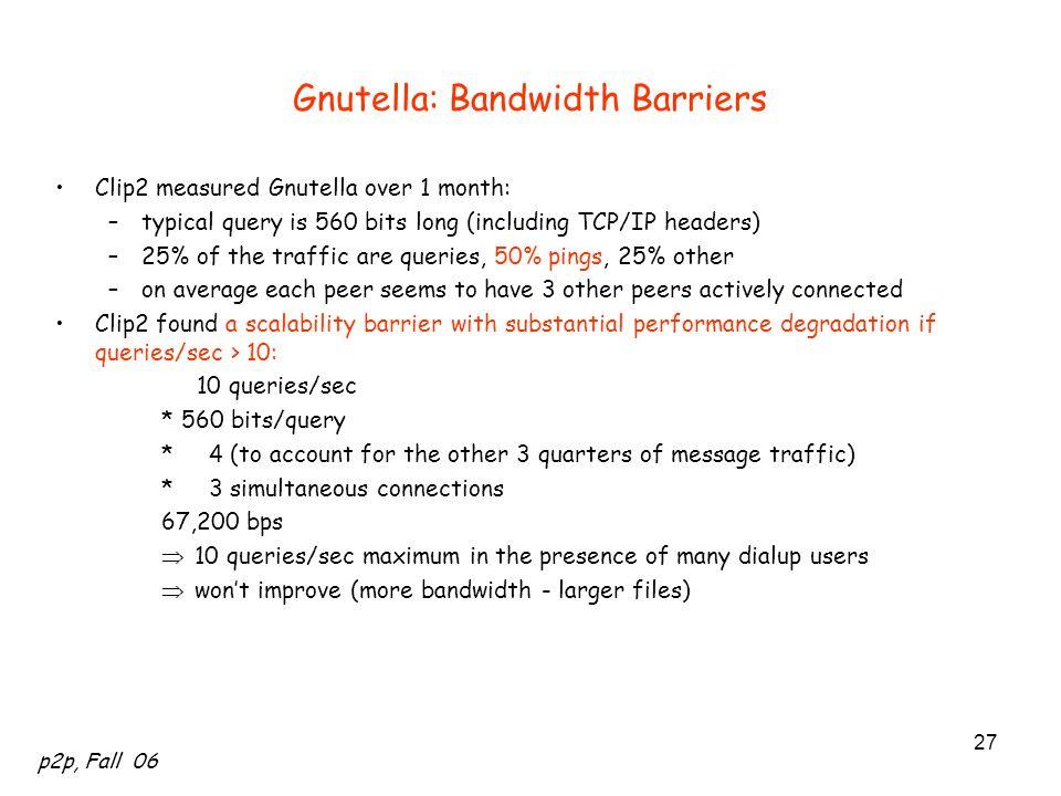 Gnutella: Bandwidth Barriers