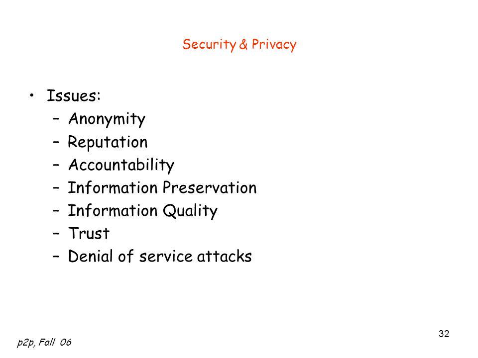 Information Preservation Information Quality Trust