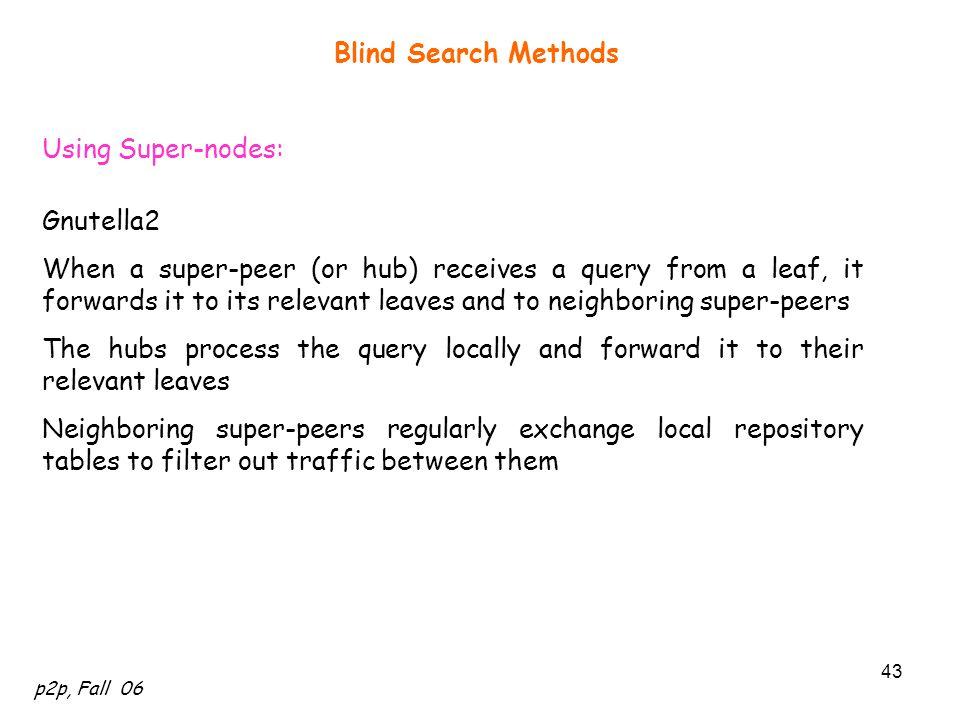 Blind Search Methods Using Super-nodes: Gnutella2.