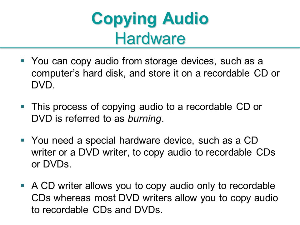 Copying Audio Hardware