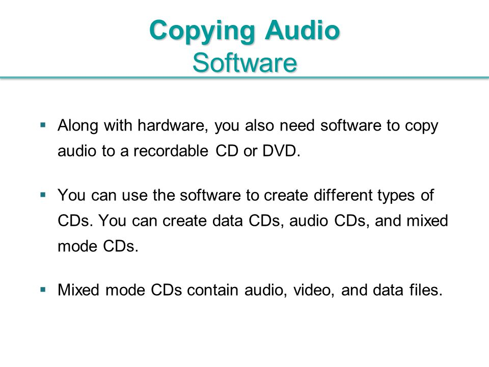 Copying Audio Software