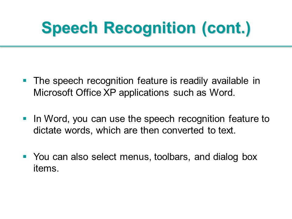 Speech Recognition (cont.)