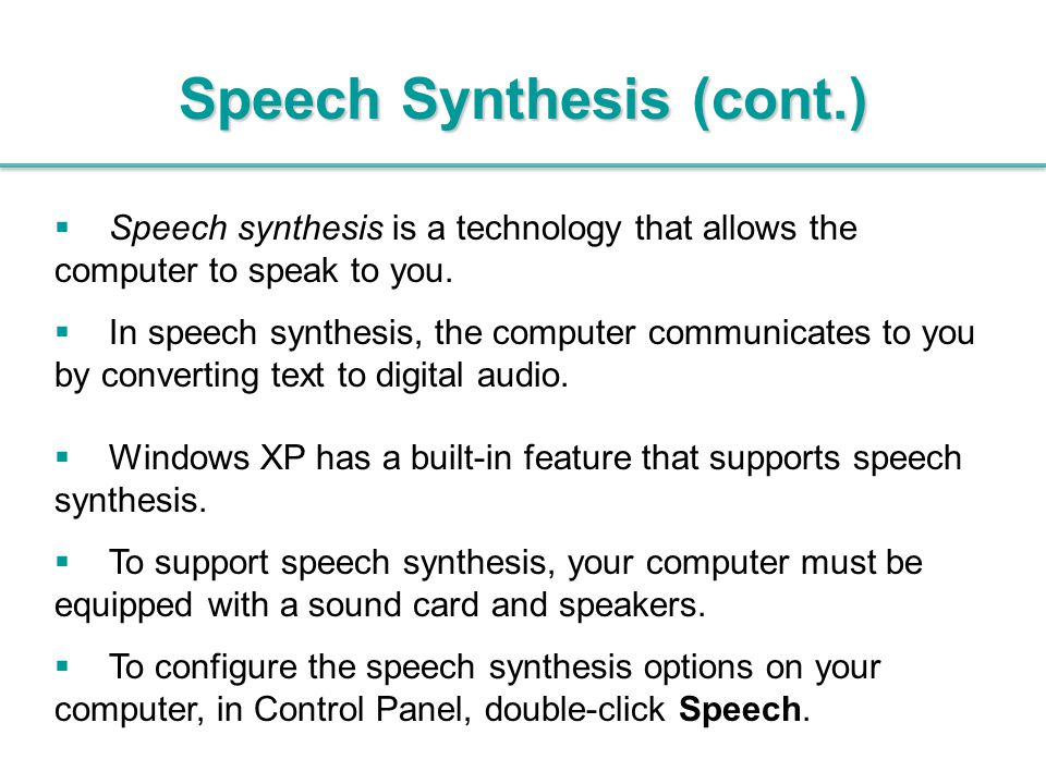 Speech Synthesis (cont.)