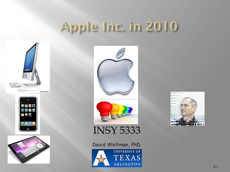 Apple Inc. in 2010 INSY 5333 David Weltman, PhD