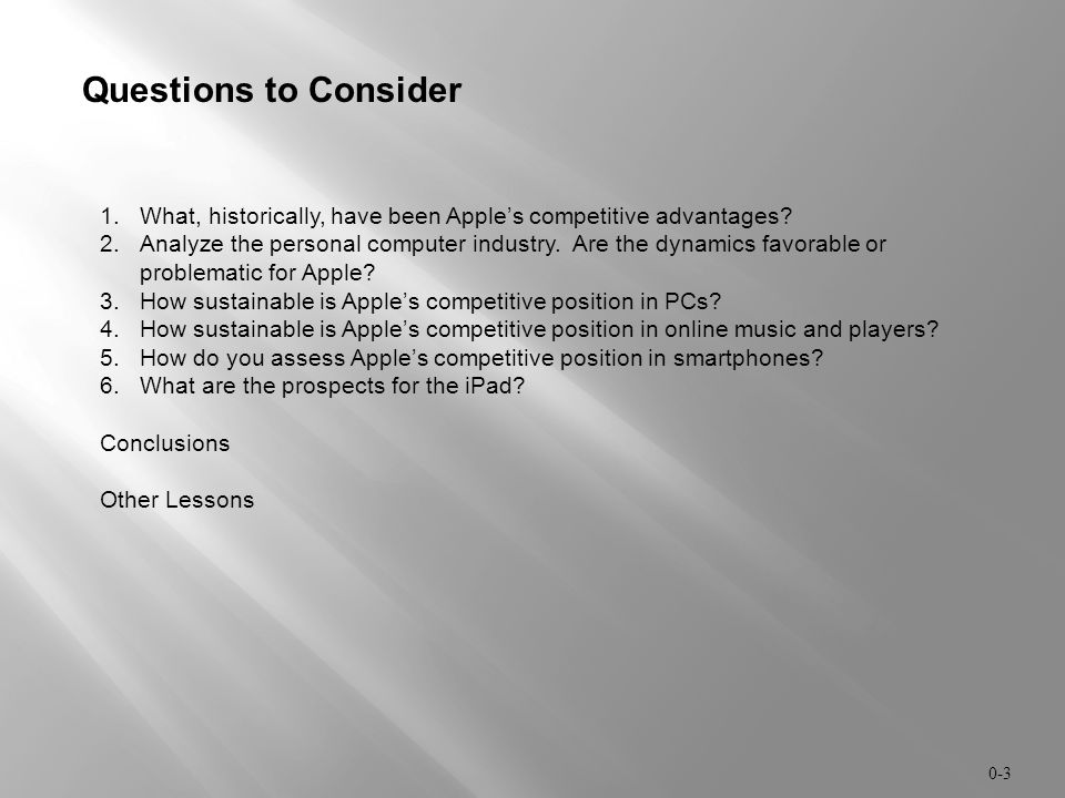 Questions to Consider What, historically, have been Apple's competitive advantages