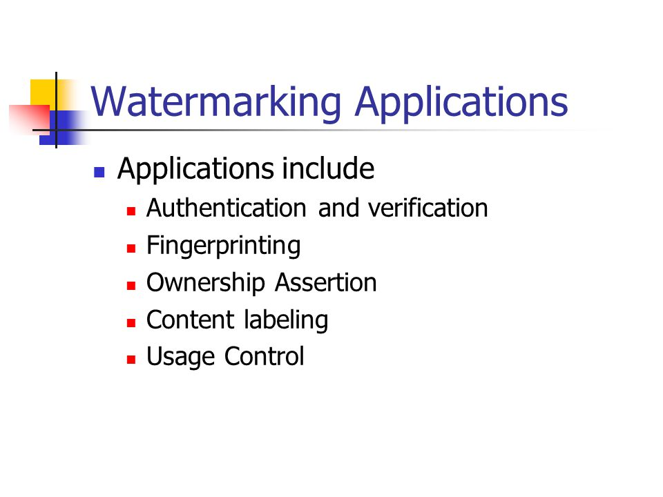 Watermarking Applications