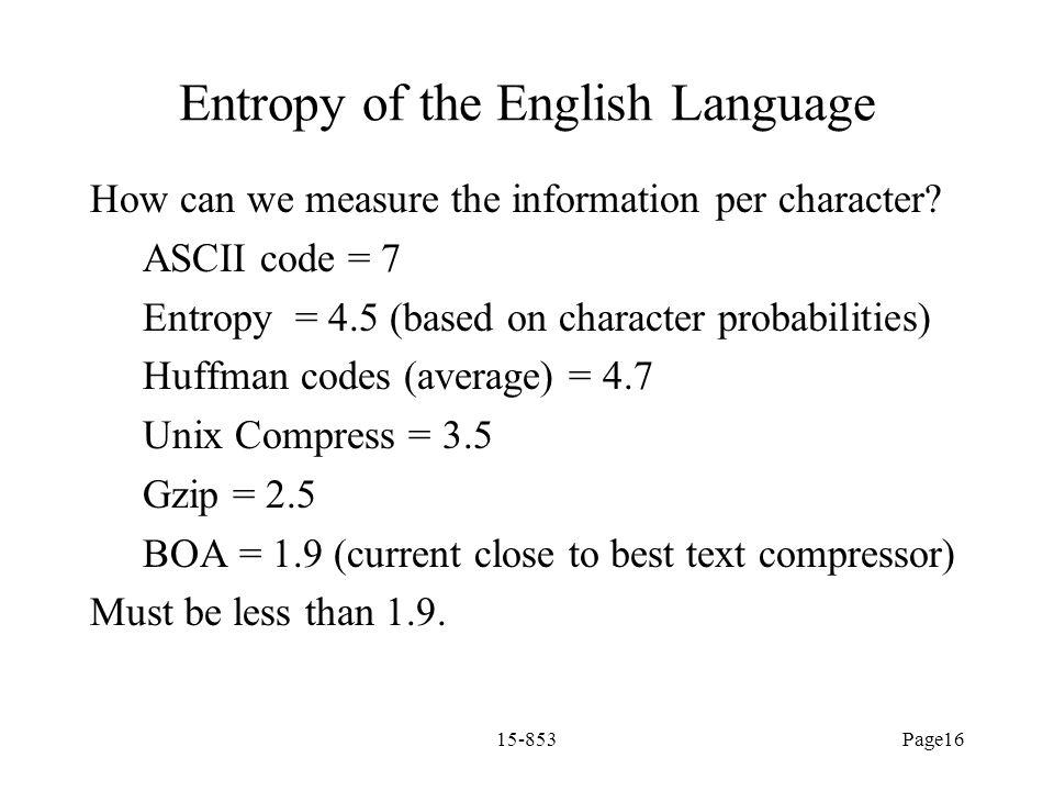 Entropy of the English Language