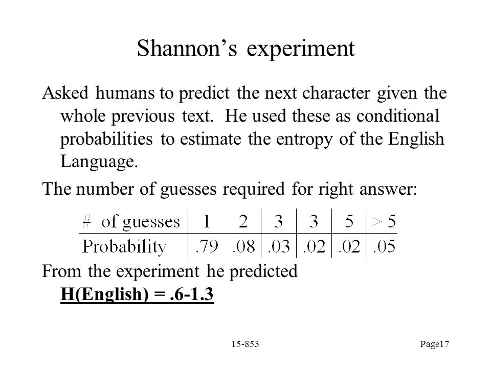 Shannon's experiment